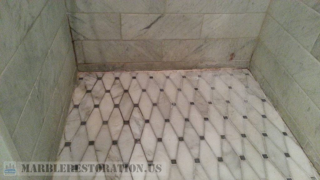 Marble Shower Floor Perimeter Before Re Caulking