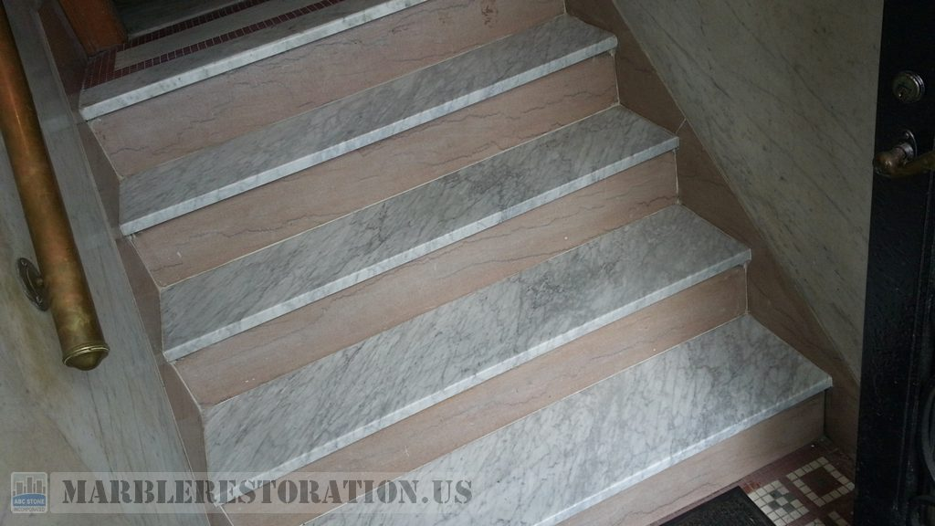 New White Carrara Marble Steps Fitting Installation