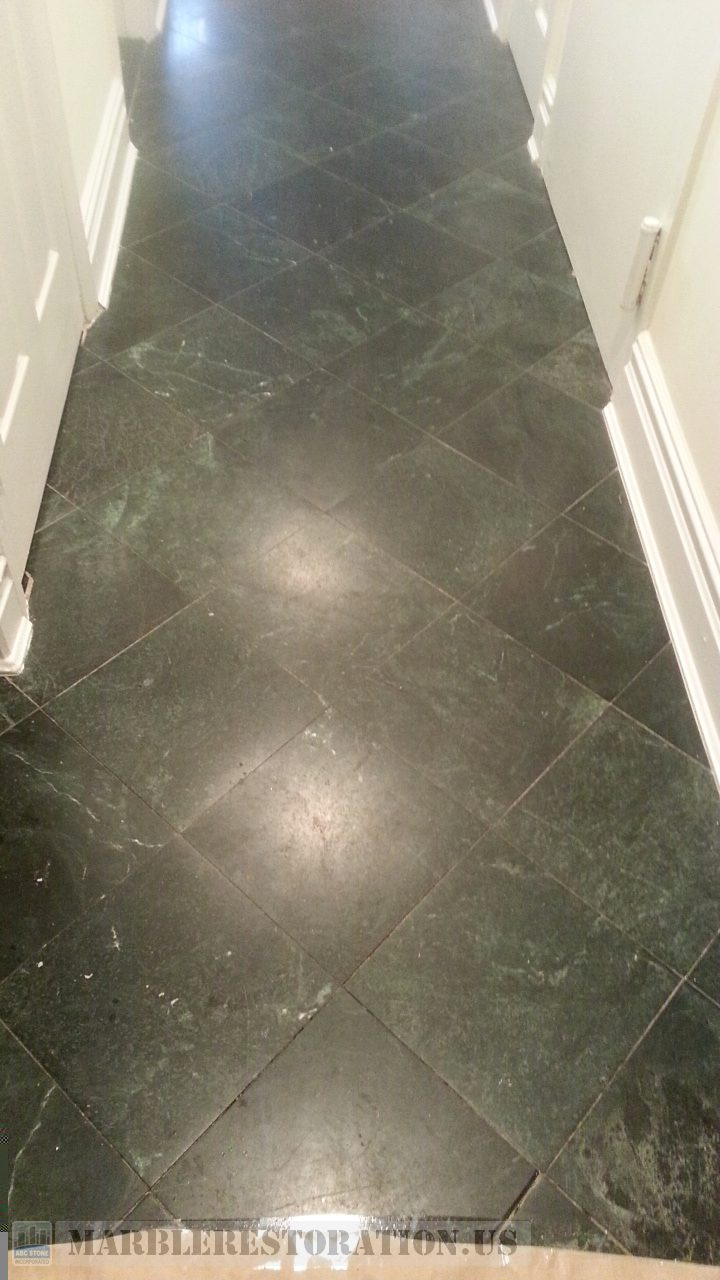 Dull Serpentine Black Entryway Worn Finish