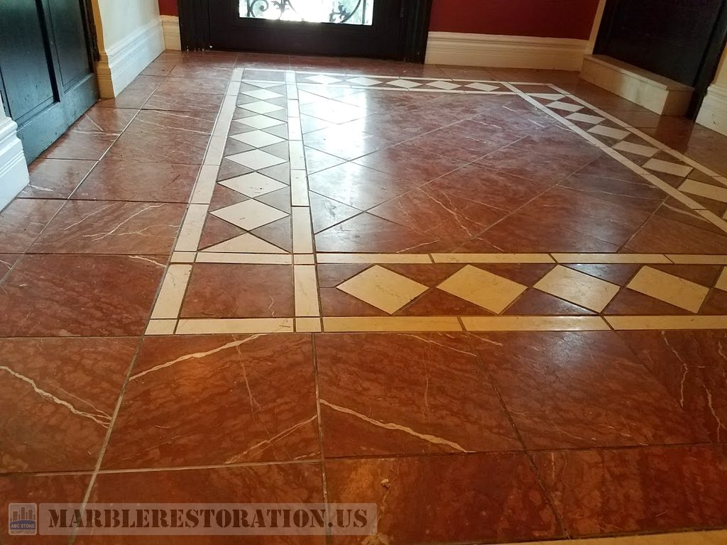 Rosso Verona Reddish Floor Before Resurfacing