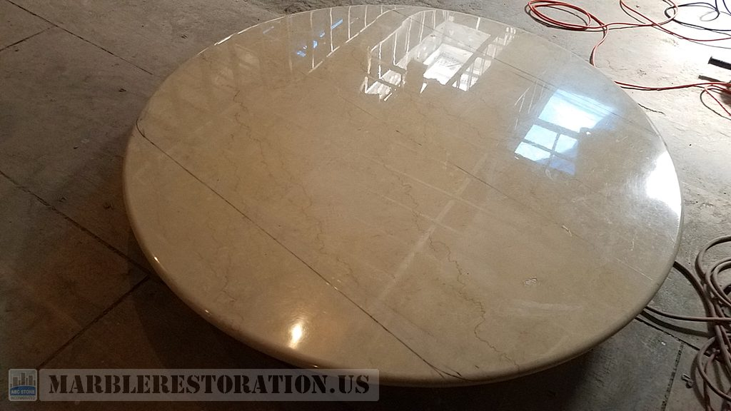 Round Coated Table Fabrication Marked for Reshaping