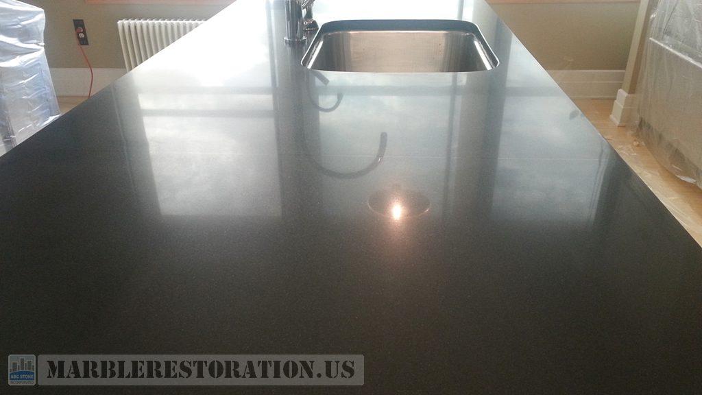 Semi Shine Finish Black Absolute Granite Counter