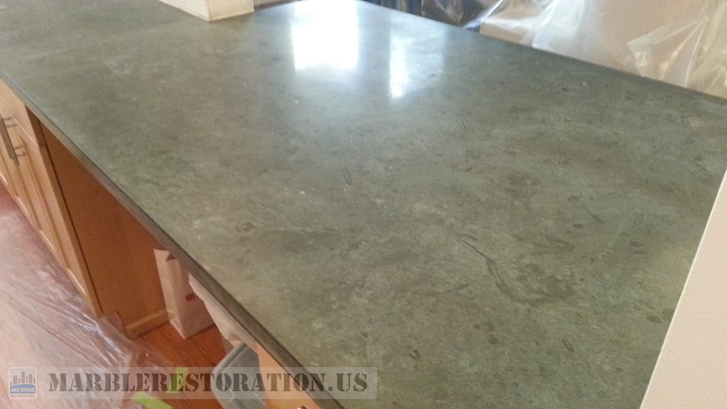 Severely Etched Limestone Countertop After Refinishing