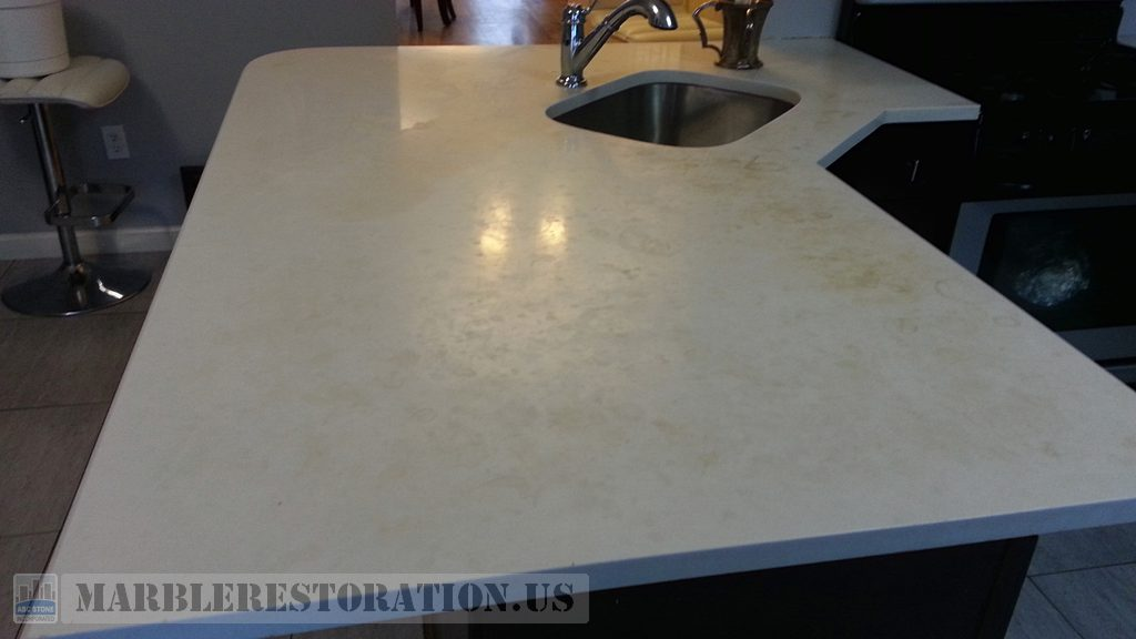 Stained Corian Kitchen Countertop