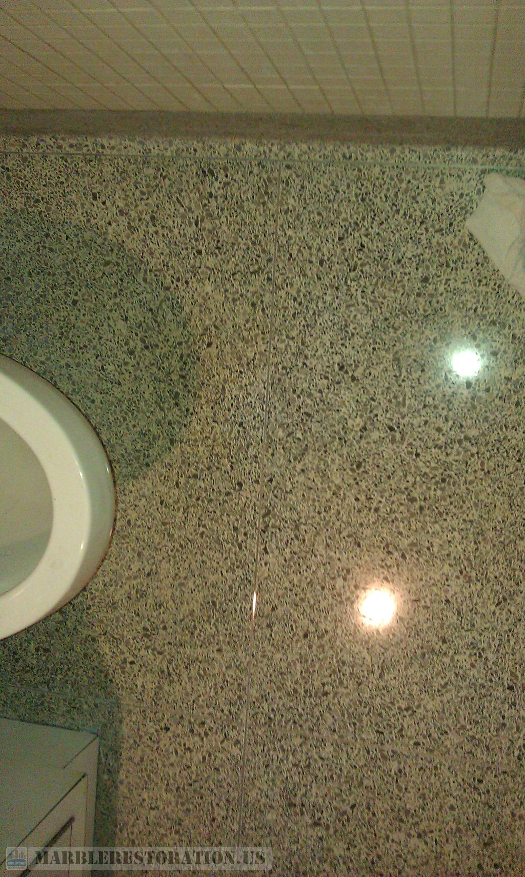 Terrazzo Restroom Floor Janitorial Cleaning Polishing
