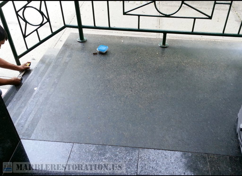 Ubatuba Deterioration on Dull Opaque Granite Porch and Steps