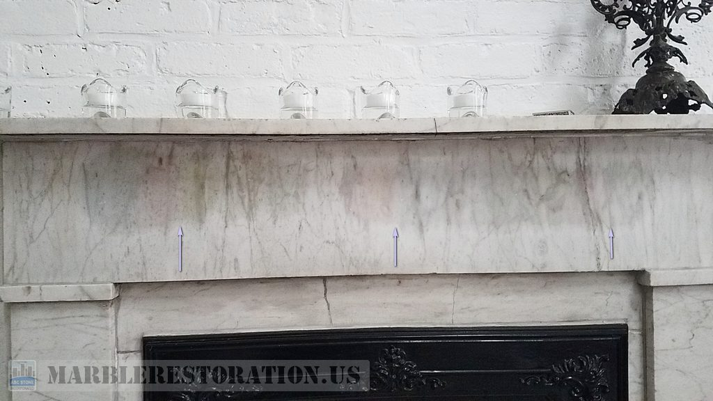 White Mantelpiece Oily Stain/Blots